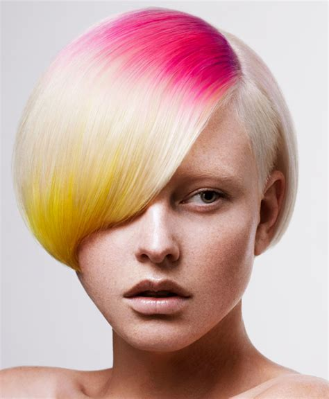 short hairstyles with dye soft rainbow bright red blue strip color hairstyle