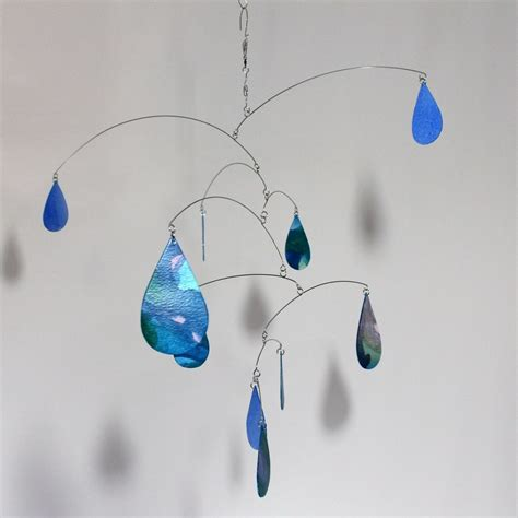 Hand Made Rain Raining Rain Art Mobile   Spring Shower