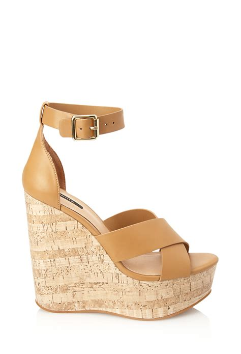 are forever 21 shoes comfortable forever 21 platform wedge sandals in brown tan lyst