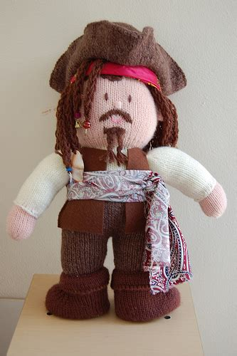 knitting pattern for a pirate doll captain jack sparrow knitted doll front flickr photo