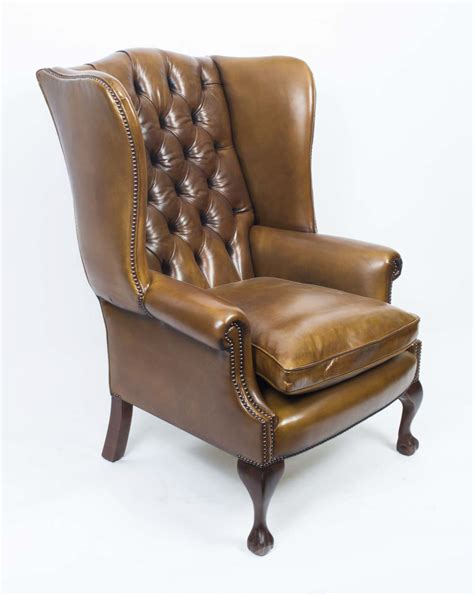 Wingback Armchair by Leather Chippendale Wing Back Chair Armchair Yellow