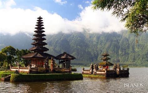 in bali temple on a background of mountains in bali wallpapers and