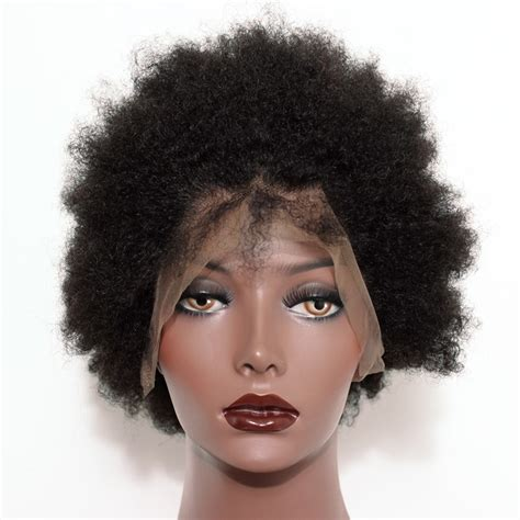 Full Lace Human Hair Wigs Short Afro Kinky Hair 100% Human