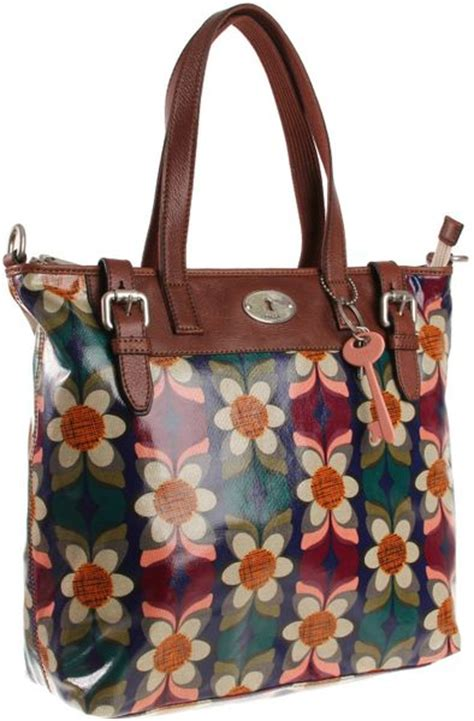Fossil Tote Floral fossil key per tote in floral purple multi lyst