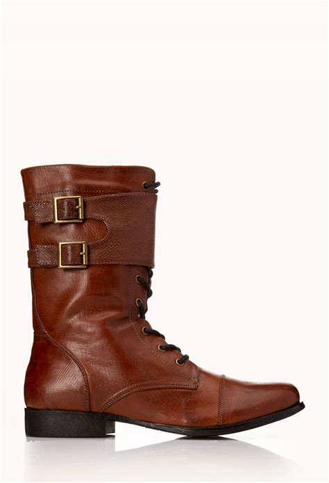 light brown combat boots forever 21 standout combat boots in brown light brown lyst