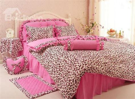 Leopard Print Cotton Princess Style Pink 4 Piece Duvet Pink Cheetah Print Bed Set