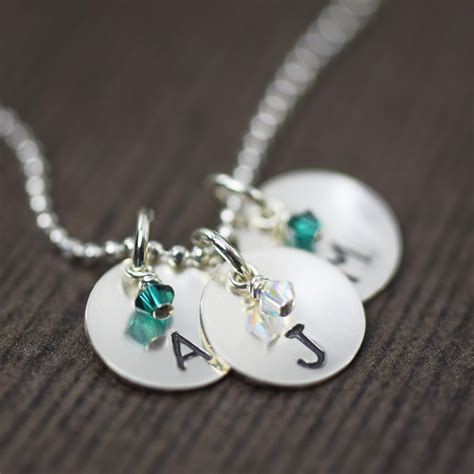 custom sted necklace birthstone jewelry initial