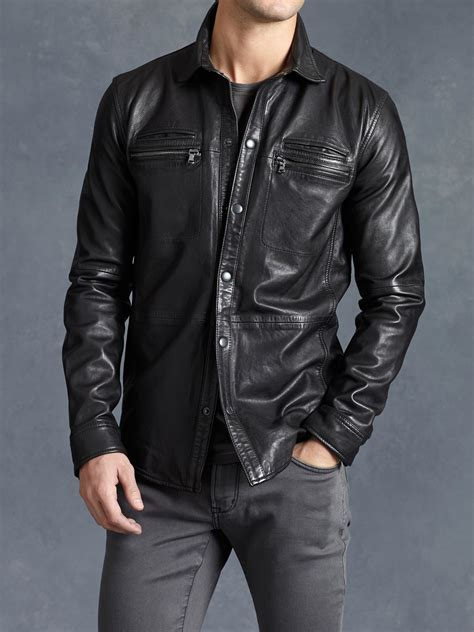 varvatos lambskin shirt jacket in black for lyst