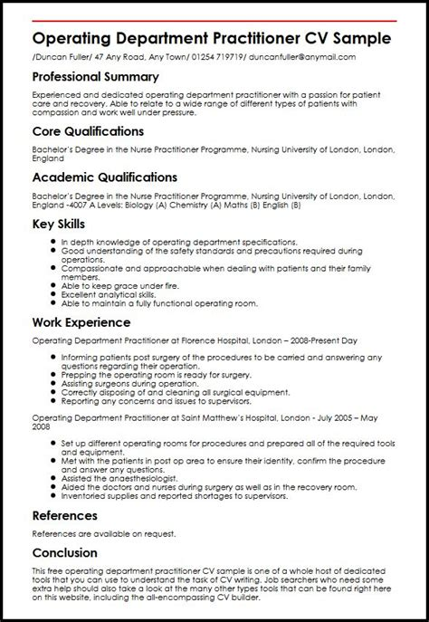 Operating Department Practitioner Cover Letter by Pay To Get Chemistry Curriculum Vitae