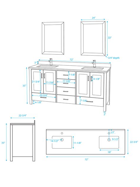 Vanities Sizes 72 Quot Sink Vanity Bathgems