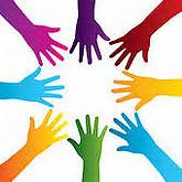 hands silhouette colorful - royalty free clip art