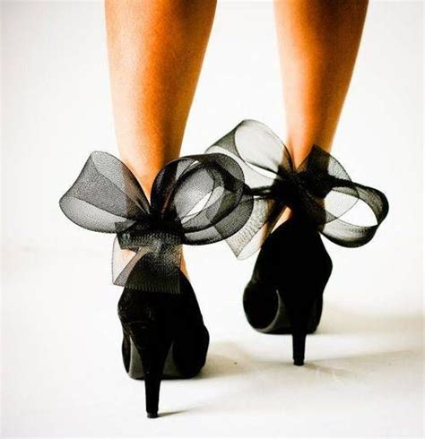 high heels with bows on the back black heels with sheer bows on back
