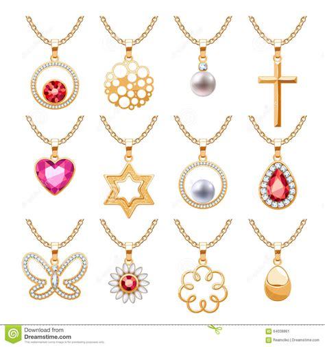 vector pattern jewelery elegant gemstones vector jewelry pendants set stock vector
