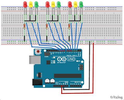 4 way traffic light arduino arduino traffic light controller project with circuit