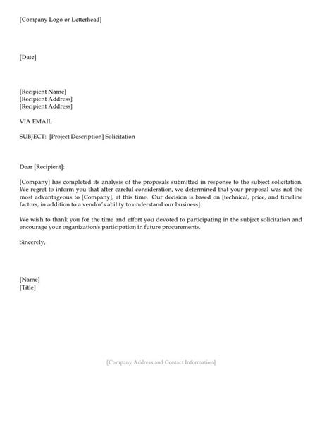 Business Rejection Letter Response 25 b 228 sta sle of letter id 233 erna p 229
