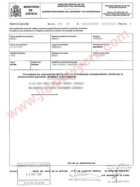 certificado de ultimas voluntades espa 241 a herencia la herencia en espa 241 a el impuesto de