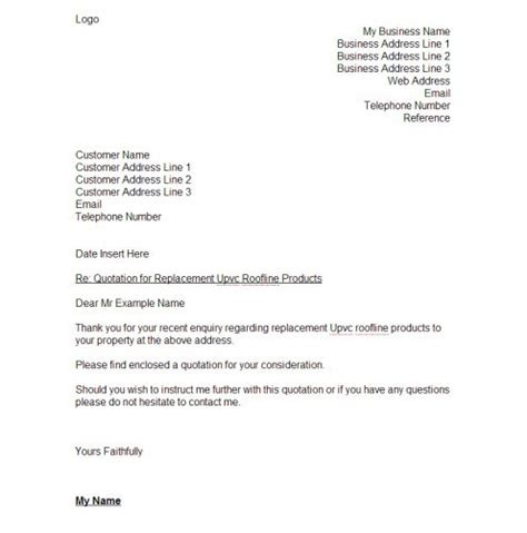 quotation cover letter how to write a quotation for a customer sle template
