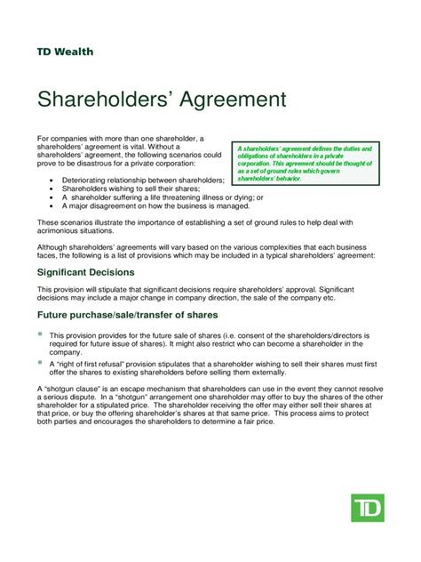 template shareholders agreement shareholder agreement 5 free templates in pdf word