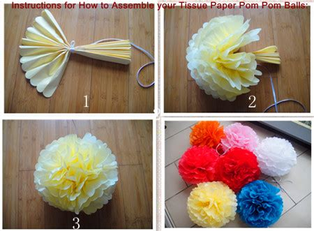 How To Make Tissue Paper Pom Pom Balls - 12 tissue paper pom poms white 4 pieces pom poms