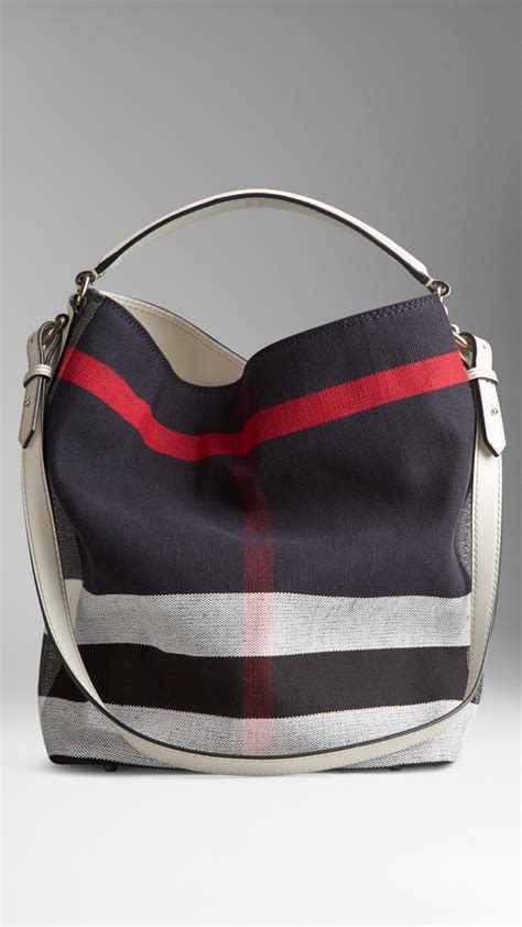 Burberry Check Canvas Hobo Bag Bliss by Burberry Medium Canvas Check Hobo Bag In Blue Lyst