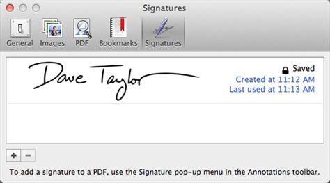 add a signature to pdfs in mac os x lion preview ask