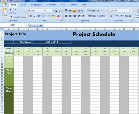 Project Schedule Template Excel excel project schedule template calendar template 2016