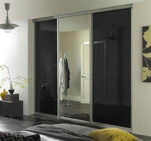 Black Glass Wardrobe Doors Black Glass Sliding Wardrobe Doors With Silver Mirror