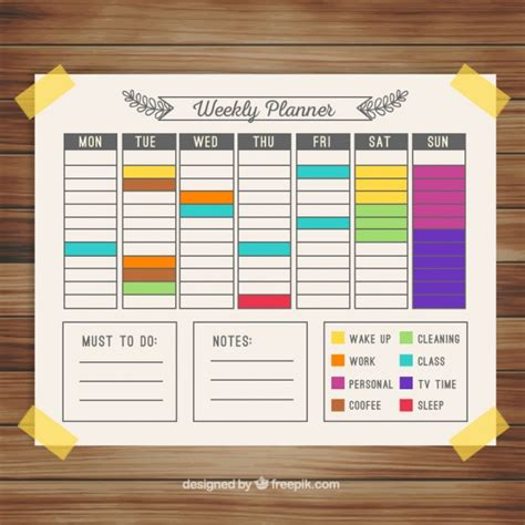 daily planner template vector colorful weekly calendar planner vector free download