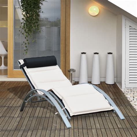 Outdoor Lounge Chairs With Cushions by Outsunny Adjustable Patio Reclining Outdoor Chaise Lounge