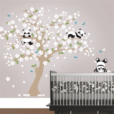 cherry blossom tree wall decal for nursery panda cherry blossom tree wall decal in an instant
