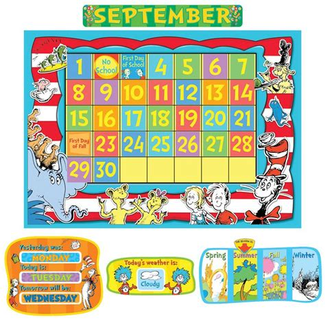 calendar template for bulletin board dr seuss calendar bulletin board set