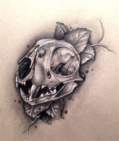 cat skull tattoo animal skull idea what about something like this