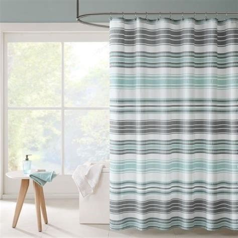 Aqua Color Curtains Designs New Aqua Blue Gray Grey Shower Curtain Striped Fabric Modern Bathroom Bath 72 In Ebay