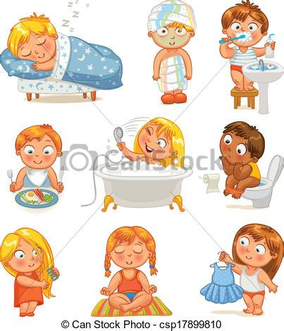 Concept Shower Bath vector clip art of health and hygiene baby girl after the