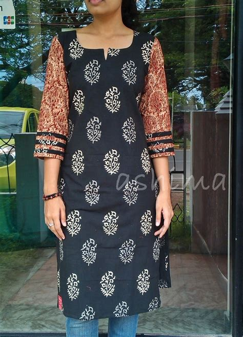 kurti pattern free printed soft cotton kurta with kalamkari sleeve code