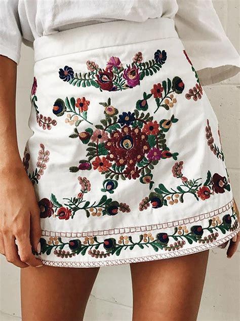 High Waist A Line Mini Skirt white high waist embroidery floral a line mini skirt choies