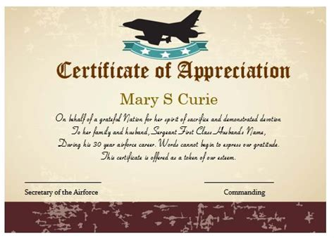air certificate of appreciation template 50 professional free certificate of appreciation
