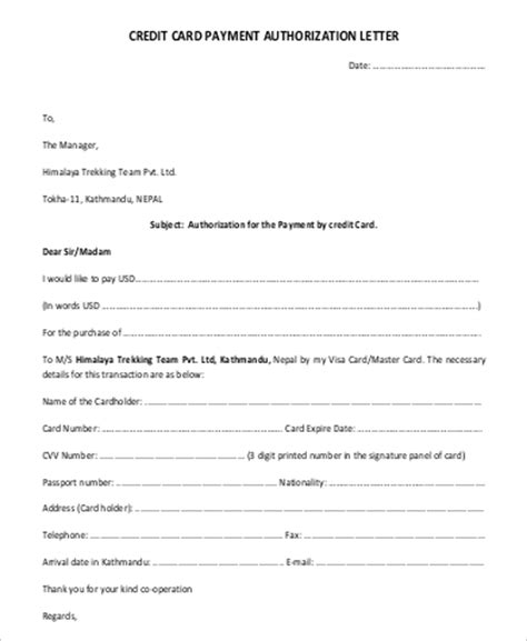 authorization letter for credit card payment exles of authorization letter
