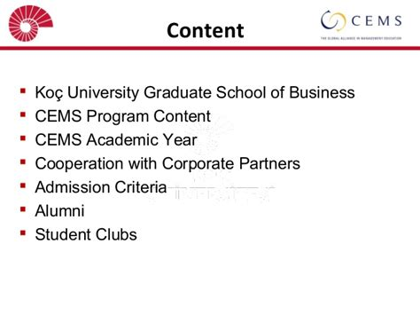Koc Mba Curriculum by Cems Presentation Of January 25 2014 Anamed