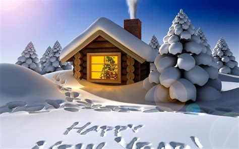 Cabins For New Year by Met Een Huisje En De Tekst Happy New Year In De Sneeuw
