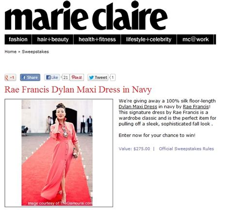 Marie Claire Magazine Sweepstakes - new york fashion pr firm secures accessories client