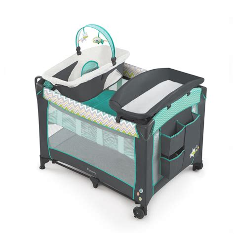 Playard With Changing Table Playard Playpen Travel Baby Bassinet Changing Table Crib Mobile Portable New Baby Bassinet