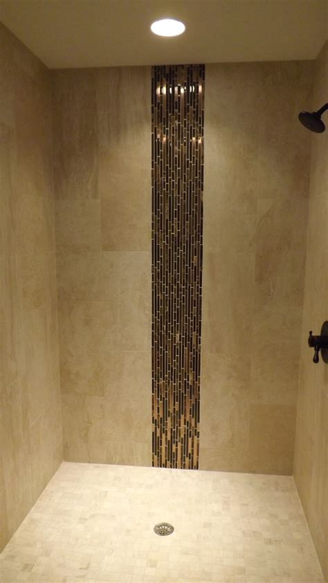 vertical tile shower shower stall with vertical accent iris porcelain field