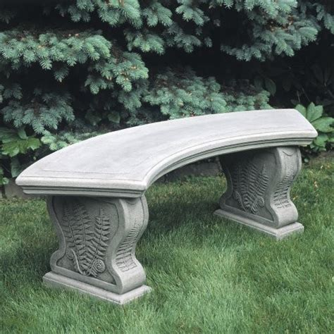 cast stone benches garden cania international curved woodland ferns cast stone backless garden bench