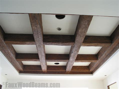how to install wood beams on a ceiling installing ceiling beams faux wood workshop