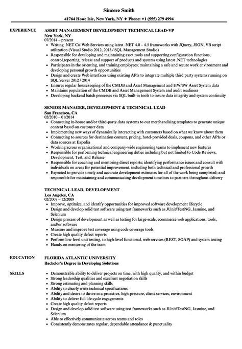 resume templates for technical lead technical lead development resume sles velvet