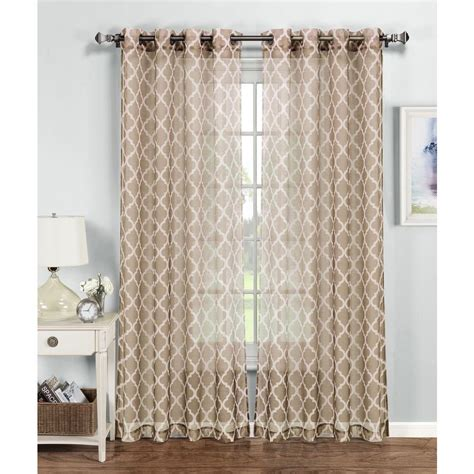 Beige And White Curtains Window Elements Sheer Quatrafoil Printed Sheer Wide 54 In W X 84 In L Grommet Curtain
