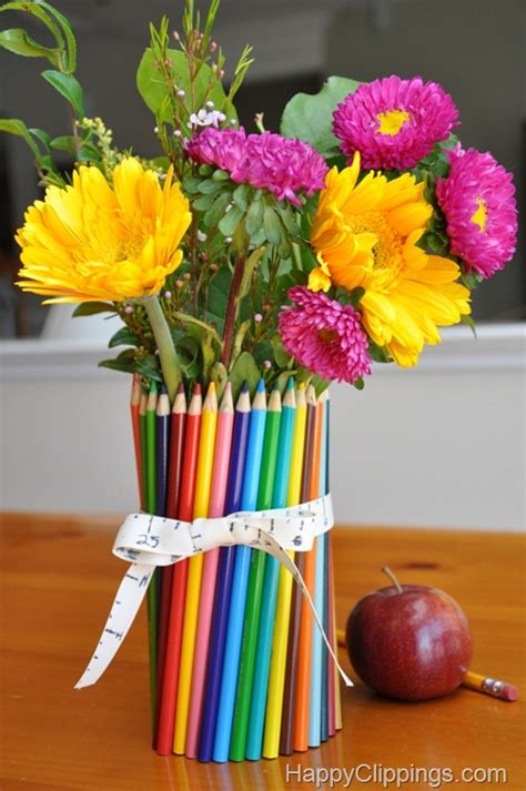 colored pencil vase diy colored pencil vase appreciation gift ideas