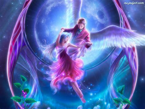 cute anime couples angels rośliny para anioł 243 w na pulpit