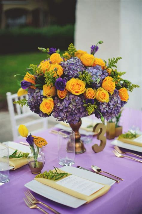 lavender and yellow wedding ideas centerpieces yellow purple wedding purple wedding